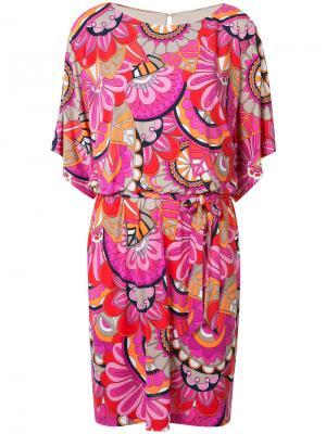 Платье с узором и поясом Trina Turk. Цвет: розовый и фиолетовый