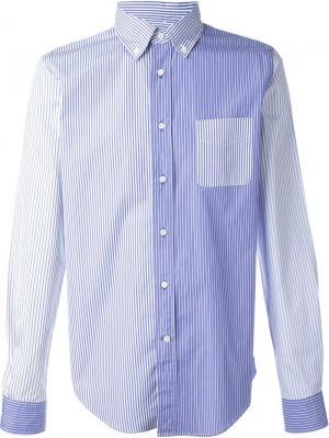 Полосатая рубашка с панельным дизайном Wooster + Lardini. Цвет: синий