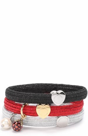 Комплект эластичных резинок с декоративной отделкой Marc Jacobs. Цвет: красный