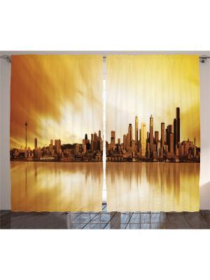 Комплект фотоштор Жёлтое такси в Нью-Йорке, оранжевый вечер, облака голубом небе, 290x265 см Magic Lady. Цвет: бежевый, молочный, горчичный, кремовый, желтый, черный, темно-коричневый, коричневый