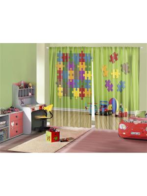 Комплект фотоштор для гостиной Цветная головоломка, плотность ткани 175 г/кв.м, 290*265 см Magic Lady. Цвет: белый