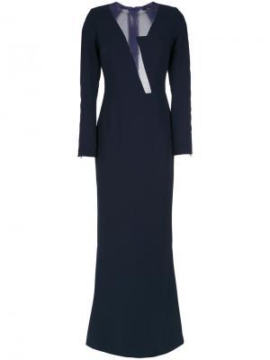 Sheer panels gown Gloria Coelho. Цвет: синий