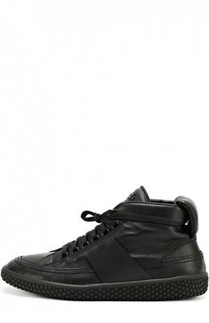 Высокие кожаные кроссовки на шнуровке O.X.S.. Цвет: черный