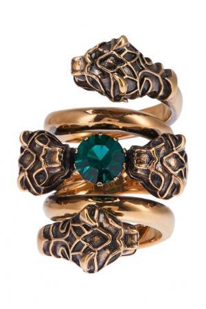 Кольцо с зеленым кристаллом Gucci. Цвет: золотой