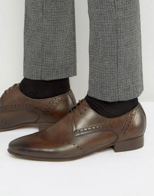 Hudson London Кожаные броги Erato. Цвет: коричневый