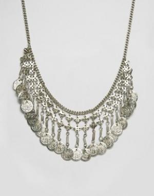 Raga Ожерелье с монеткой. Цвет: серебряный