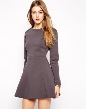 2nd Day Короткое приталенное платье. Цвет: серый