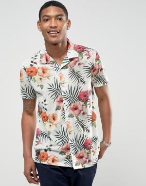 LDN DNM Рубашка с короткими рукавами, отложным воротником и принтом. Цвет: синий