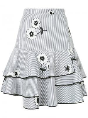 Полосатая пышная юбка с цветочной вышивкой Huishan Zhang. Цвет: синий