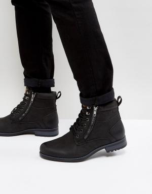 New Look Черные армейские ботинки. Цвет: черный