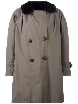 Бушлат с меховой оторочкой Yves Saint Laurent Vintage. Цвет: зелёный