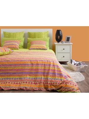Полутороспальное постельное белье Хлопковый Край. Цвет: оранжевый, розовый, салатовый, синий