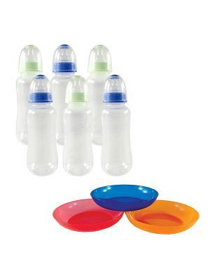 Комплект Бутылочки для кормления (силиконовая соска) + Тарелочки Nurtria. Цвет: голубой