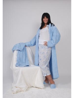 Пижама (майка на бретелях+штаны укороченные) белый/голубой размер XS La Pastel. Цвет: белый, голубой
