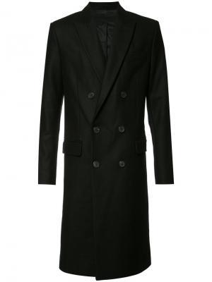 Двубортное пальто Ami Alexandre Mattiussi. Цвет: чёрный
