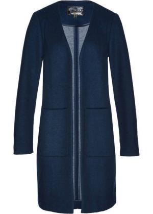 Пальто с долей шерсти (темно-синий/дымчато-серый) bonprix. Цвет: темно-синий/дымчато-серый
