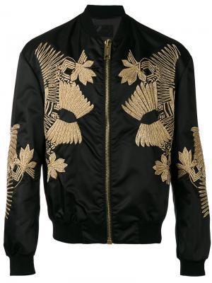 Куртка-бомбер с вышивкой Les Hommes. Цвет: чёрный