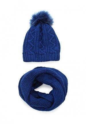 Комплект снуд и шапка Fete. Цвет: синий