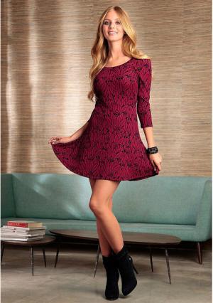 Платье Y.O.U.. Цвет: красный/черный с рисунком