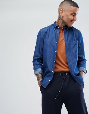 Aquascutum Синяя рубашка из шамбре с логотипом Redmond. Цвет: синий