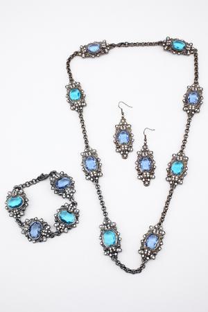 Набор I Pavoni. Цвет: серебро, камни голубые, синие