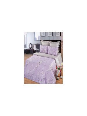 Комплект постельного белья из тк.Сатин в подарочной упаковке Сапфир Арт Постель. Цвет: серый, сиреневый