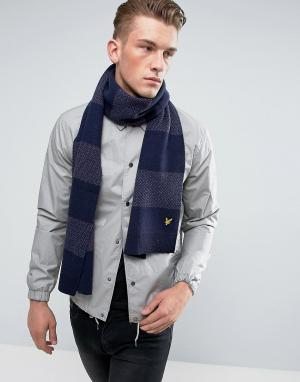 Lyle & Scott Трикотажный шарф в полоску. Цвет: фиолетовый