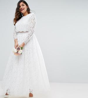 ASOS Curve Кружевное платье макси для выпускного с длинными рукавами B. Цвет: белый