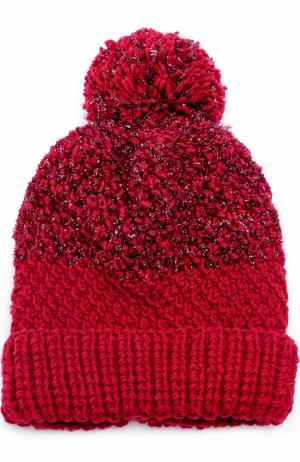 Шерстяная вязаная шапка с помпоном и отделкой металлизированной нитью 0711. Цвет: бордовый