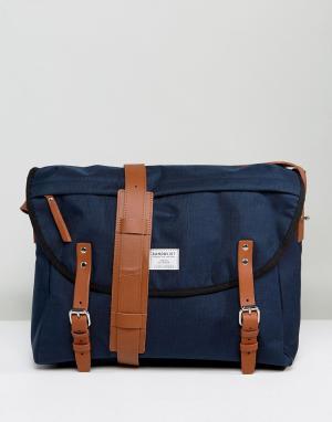 Sandqvist Темно-синяя сумка почтальона Erik. Цвет: темно-синий