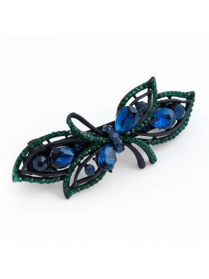 Заколка для волос с кристлами Preciosa Феникс Selena. Цвет: зеленый, синий