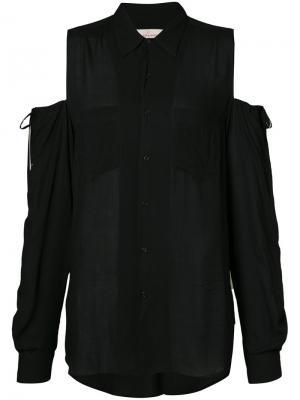 Рубашка с открытыми плечами A.F.Vandevorst. Цвет: чёрный