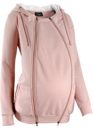 Мода для беременных: триктажная куртка с защитной вставкой малыша (антрацитовый меланж) bonprix. Цвет: антрацитовый меланж