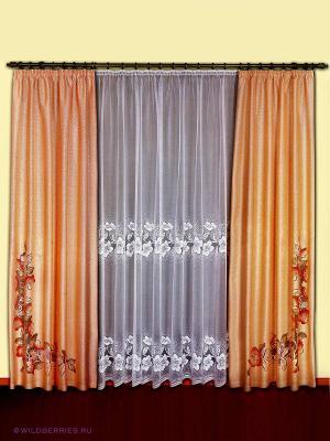 Комплект штор Haft. Цвет: персиковый, белый