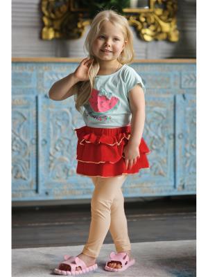 Леггинсы с юбкой Yuumi. Цвет: красный, бежевый