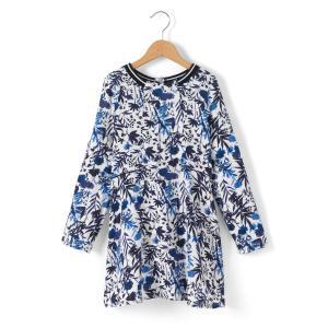 Платье с длинными рукавами и рисунком, 3-14 лет IKKS JUNIOR. Цвет: синий + рисунок