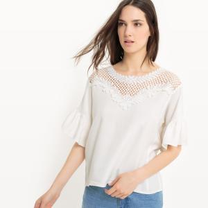 Блузка с кружевом и короткими рукавами MOLLY BRACKEN. Цвет: экрю