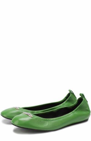 Кожаные балетки с логотипом бренда Lanvin. Цвет: зеленый