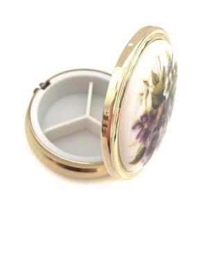 Декоративная шкатулка круглая Фиалка. Reutter Porzellan. Цвет: зеленый, фиолетовый, белый