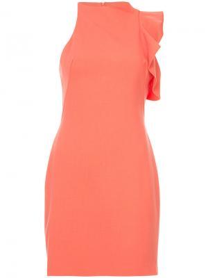 Асимметричное платье с оборками Black Halo. Цвет: жёлтый и оранжевый