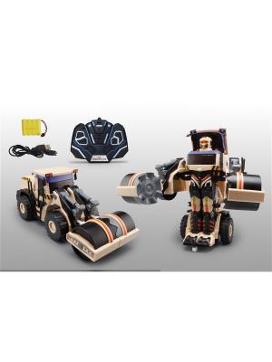 Робот на р/у, трансформируется в строительный каток,  со светом и звуком, 38см, коробка 1Toy. Цвет: серый