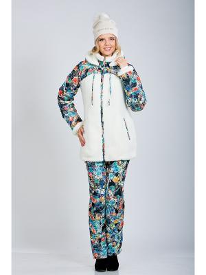 Куртка А Б Коллекция. Цвет: светло-серый, белый