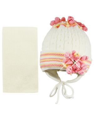 Шапка и шарф Grans. Цвет: кремовый, розовый