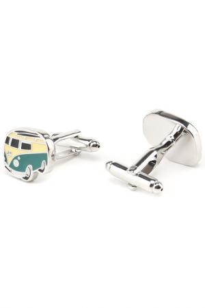 Запонки машинка автобус Churchill accessories. Цвет: серебряный