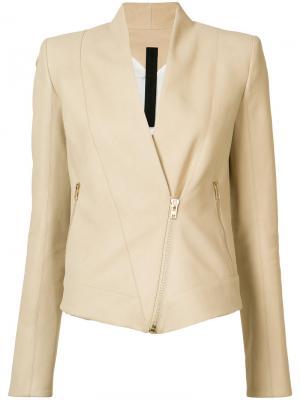 Байкерская куртка со смещенной застежкой Gareth Pugh. Цвет: телесный