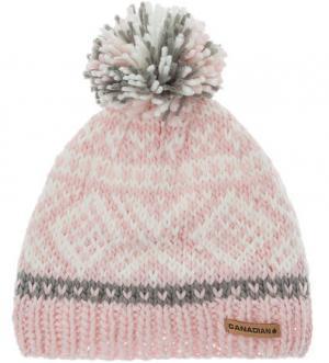 Розовая шапка с текстильным помпоном CANADIAN. Цвет: розовый