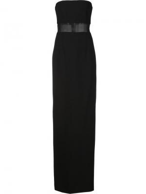 Длинное платье с прозрачной панелью Elizabeth And James. Цвет: чёрный
