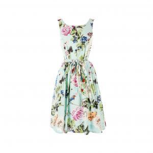 Платье без рукавов с цветочным рисунком RENE DERHY. Цвет: цветы/синий