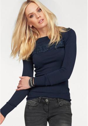 Пуловер MELROSE. Цвет: темно-синий