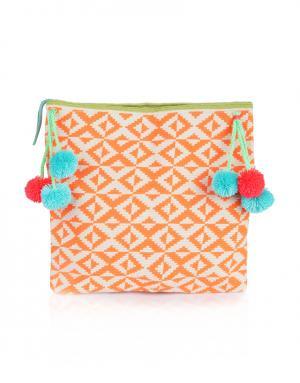 Хлопковый клатч Paulino Sophie Anderson. Цвет: оранжевый, кремовый, голубой